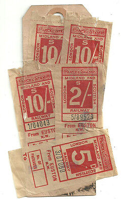 10/- X3 2/- 5D London Midland And Scottish Railway Stamps Euston Nw Parcel Tag