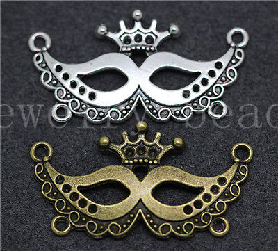 5/20/100pcs Tibetan Silver Exquisite Eye mask Jewelry Charms Connectors 40x21mm