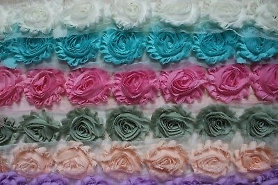 Shabby Chic Rosette Fabric Flower Lace Chiffon Trim x 1 Yard.