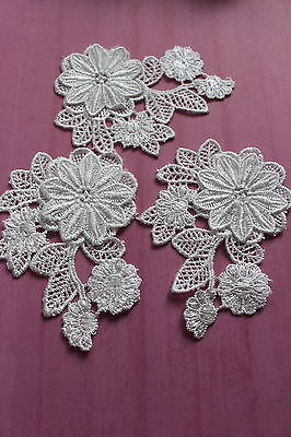Floral Lace Sewing Patch White Flower  Fabric Craft Motif Applique x 10