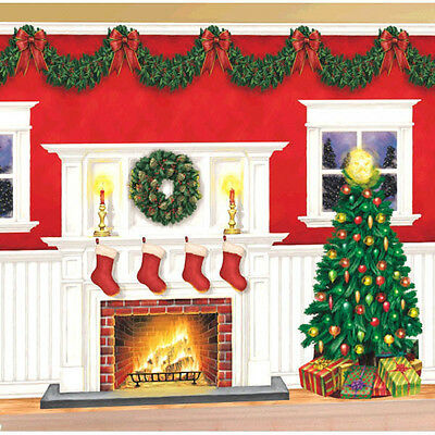 Giant Christmas Party Scene Setter Fire Place Tree Wall Decorating Kit