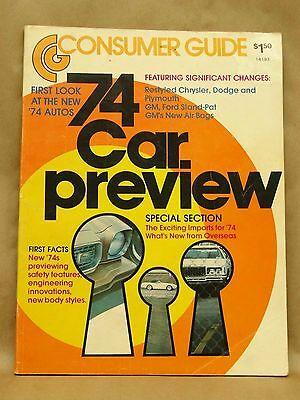 Vintage Consumer Guide Car Preview 1974 Auto Automobile Magazine Book First Look