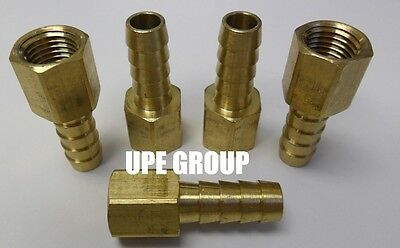 (5 Pieces) 3/8 HOSE BARB X 1/4 FEMALE NPT Brass Pipe Fitting Gas Fuel Water Air