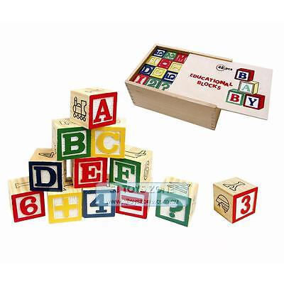 Educational Wooden Learning Blocks Puzzle Alphabet & Numbers 48 pcs with Case