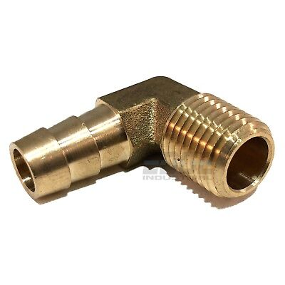 3/8 HOSE BARB ELBOW X 1/4 MALE NPT Brass Pipe Fitting Thread Gas Fuel Water Air