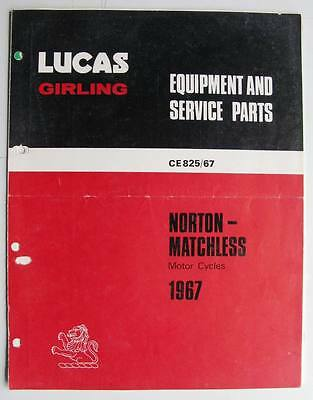 Lucas Girling Norton Matchless Motor Cycle Equipment & Service Parts 1967 825/67