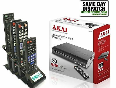 Akai A51002 Compact DVD Player With USB MultiRegion + Gagi Metal Remote Stand