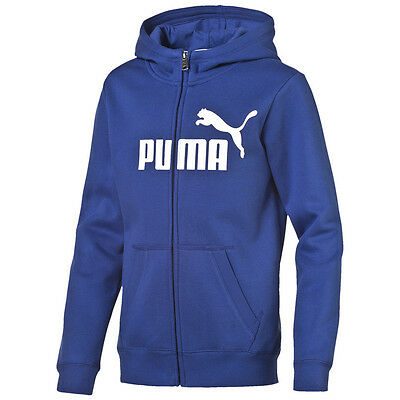 Puma Kapuzenjacke Hoody ESS Large Hooded Sweat Jacket Fleece Kids | Jungen blau