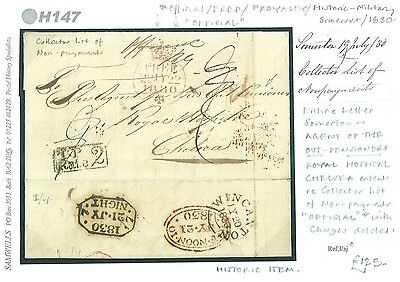 DBH147 1830 ROYAL HOSPITAL Chelsea Pensioners Mail ex Somerton Free Chelsea