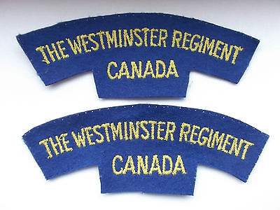 2ww british made the westminster regiment canada cloth shoulder titles