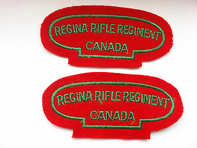 2ww british made  regina rifle regiment  canada cloth shoulder titles