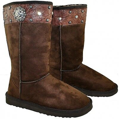 Premium Fashion Sheepskin Fleece Like Montana West Winter Snow Boots Concho