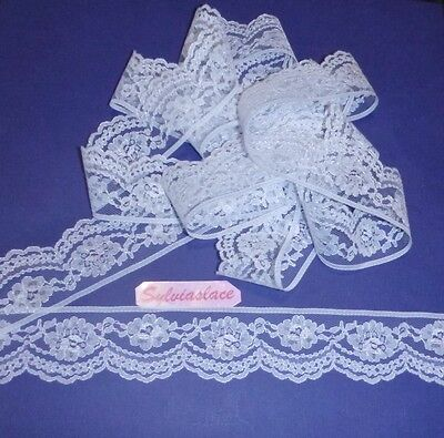 10  metres  of   White  Scalloped   Flat   Lace   4 cm wide
