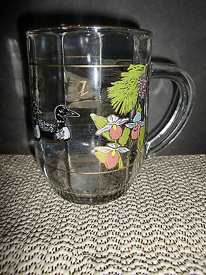 Rare Souvenier Cup/minnesota, Lady Slipper & Loons, Gold Trimmed, Marked Nmn