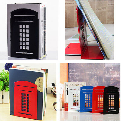 2X London Telephone Booth Design Anti-Skid Bookends Book Shelf Holder Stationery
