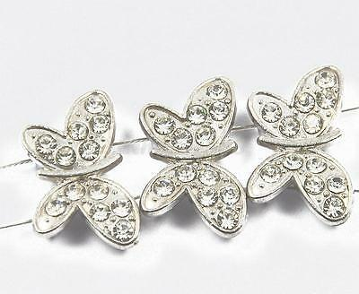 20x Crystal Rhinestone Butterfly Spacer Bar Findings 2Holes Jewelry Making