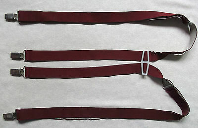 VINTAGE 25mm SKINHEAD SKA CLIP ON BRACES 1970s 1980s MENS BURGUNDY ONE SIZE