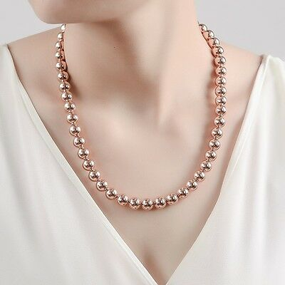 """Stunning 18K Rose Gold Filled Women's 10MM Solid Ball Beads Charm Necklace 20"""""""