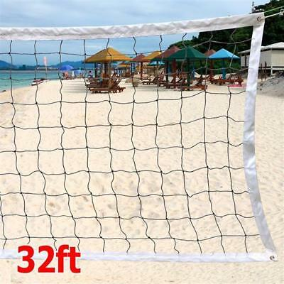 32ft Portable Outdoor Beach Volleyball Net Steel Cable Rope Set Official Size