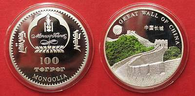 MONGOLIA 100 Tugrik 2008 GREAT WALL OF CHINA Ku-Ni colored Proof SCARCE! # 91917