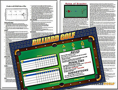 Billiard Posters - 8 Ball, Snooker & Golf Game - Laminated 11X17