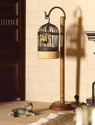 Wicker Bird Cage & Bird With Stand, Doll House Miniature, 1.12 Scale