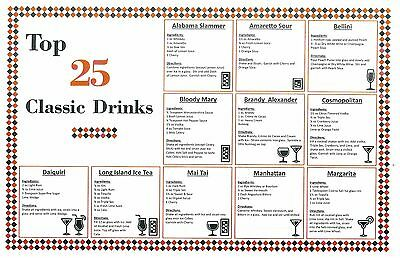 Blowout Deal - Bar Cocktail Recipe Mixed Drink Chart - Top 25 Classic Drinks