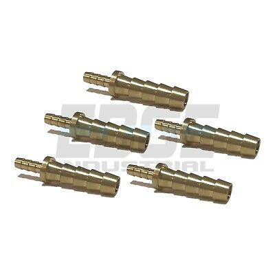 (5 Pieces) 1/4 X 1/8 Hose Barb Mendor Union Splicer Brass Fitting Gas Fuel Water