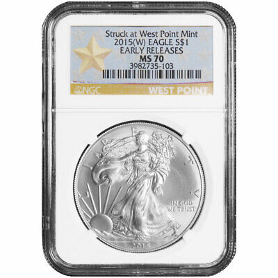 2015 W $1 American Silver Eagle NGC MS70 Early Releases WPS Label