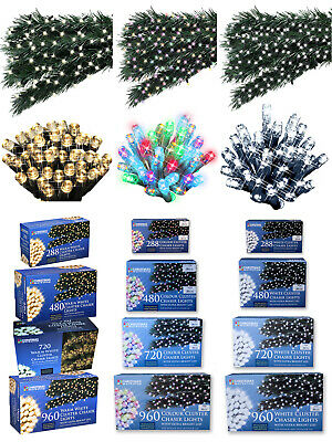 LED Chaser Cluster Christmas Light String Indoor Outdoor Multi-Colour Warm White