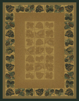 """pine CONES natural 8X11 AREA rug FOREST lodge CARPET : Actual 7' 10"""" x 10' 6"""""""