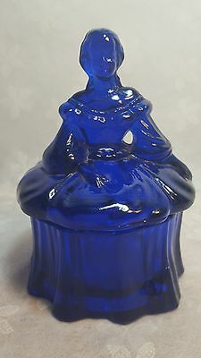 Cobalt Blue  Green Glass Powder Trinket Box  Woman Colonial Victorian Mosser