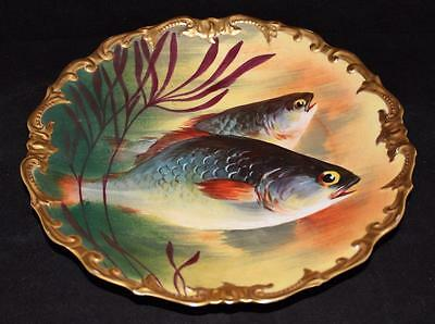LRL Lazeyras Rosenfeld Lehman Limoges Hand Painted Fish Plate Charger Bowl