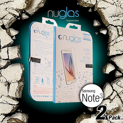 2X Genuine Nuglas Tempered Glass Screen Protector for Samsung Galaxy Note 3 9H