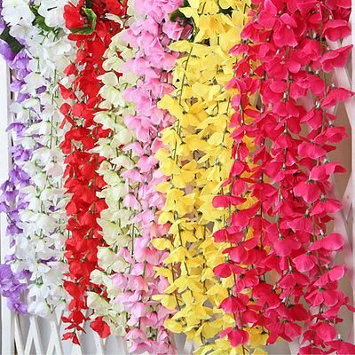 Artificial Fake Silk Flowers Ivy Vine Hanging Garland Wedding Home Party Decor