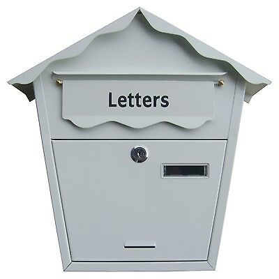 Large Steel White Post Letter Mail Box Lockable With Keys Outdoor Wall Mounted