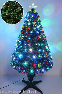 Green Frosted Fibre Optic Christmas Xmas Tree Pine w/ Multicolor LEDs Stand Best