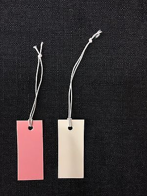 100 pcs Pink/White Jewelry Label Price Tags With Elastic String 40x13mm