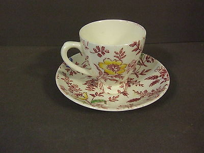 Antique England Empire Chintz Floral Demitasse Tea Cup W/ Saucer