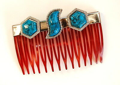 Vintage Tortoise Plastic Hair Comb Turquoise Plastic South Western Style