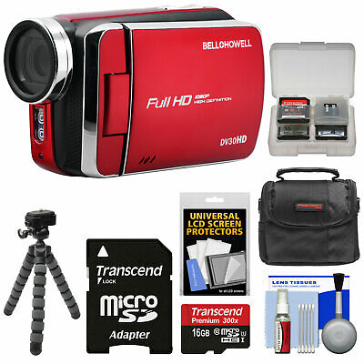 Bell & Howell DV30HD 1080p HD Video Camera Camcorder Kit Red