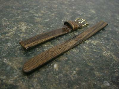 Vintage Ladies Speidel Deluxe Lizard 8mm NOS Brown Straight End Watch Band W3933