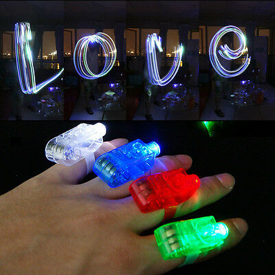 4pcs LED Stage Dance Party Favors Laser Finger Light Up Beam Torch Glow Ring