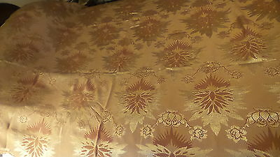 Antique Set BEDSPREAD,RUNNERS, SHADES OF BROWNISH-RUST FLORAL Silky Rayon 80X80