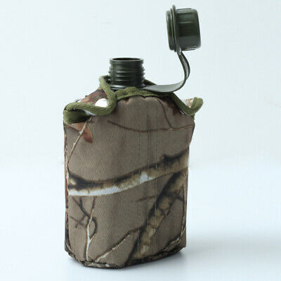 850ml Army Style Patrol Water Bottle Canteen Sport Camping Hiking + Camo Bag