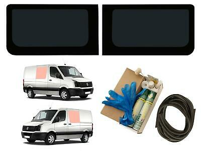 Twin Side Dark Tint Fixed Windows Pair with Adhesive Trim Kit VW Crafter (06-17)