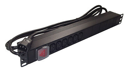 "6 way IEC C13 PDU (C14 PLUG - UPS Type) 1U 19"" Rackmount Power Distribution Unit"