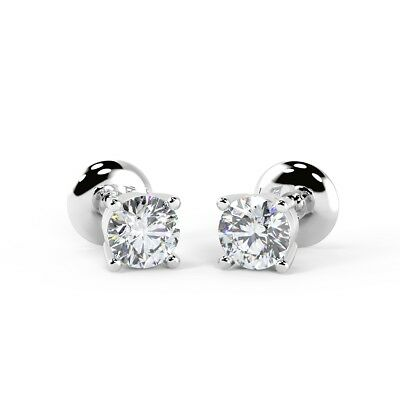1/3 ct Round Diamond Stud Earrings Crafted in 18k White Gold