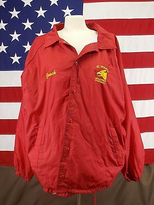 St. Francis Wolfpack Football Jacket Coach Full Snap Front Men's Dark Red 2XL