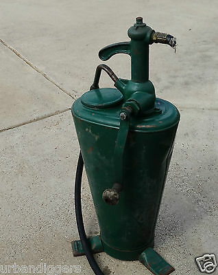 12523/ Vintage 30's Gas Service Station Oil Hand Pump ~ Rare Sinclair Green